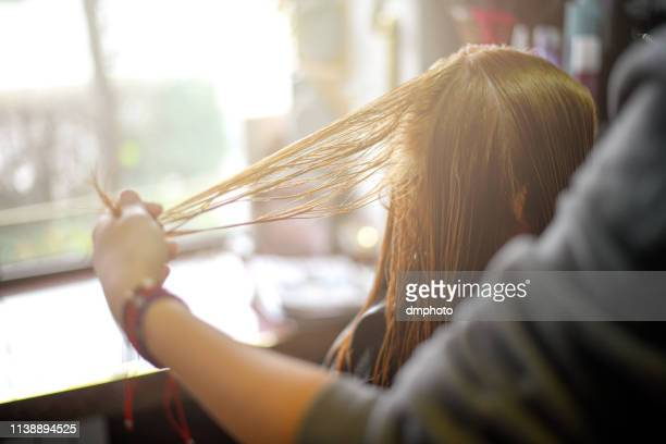 the hairdresser is cutting out hair - hair treatment stock pictures, royalty-free photos & images