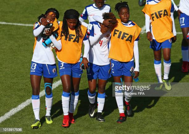 The Haiti players look dejected after the FIFA U20 Women's World Cup France 2018 group D match between Haiti and Nigeria at Stade de Marville on...