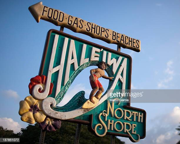 The Haleiwa town welcome sign is seen on Oahu's North Shore January 28 2012 in Haleiwa Hawaii SevenTime Pro Bowler Warren Sapp will attempt to catch...