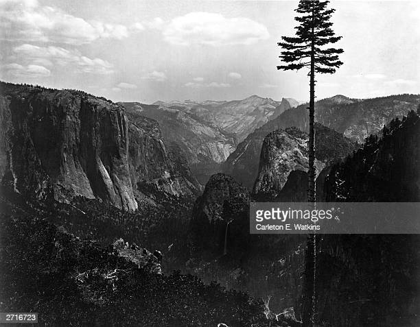 The Half Dome in Yosemite Valley a glacial gorge about 7 miles long and 1 mile wide running through the Yosemite National Park in California