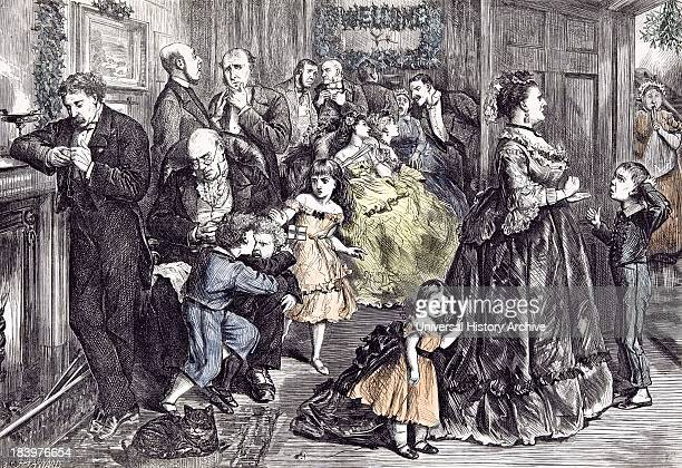 The Half Hour Before Dinner Barnard Children 1871 England Playing Fighting Interior At Home Party Near The Fire Place Fashion Room Cat Strict Doubt...