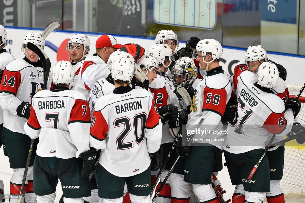 The Halifax Mooseheads celebrate a victory over the Blainville-Boisbriand Armada during the QMJHL game at Centre d'Excellence Sports Rousseau on October 20, 2017 in Boisbriand, Quebec, Canada. The Halifax Mooseheads defeated the Blainville-Boisbriand Armada 4-2.