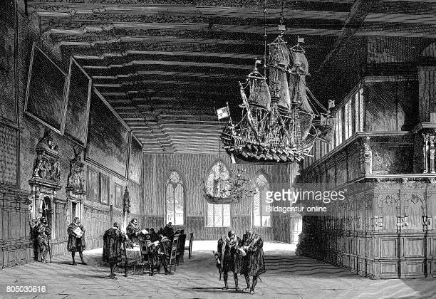 The Hall in the town hall of Bremen Germany about 1500 historical illustration