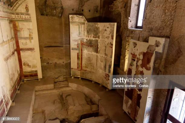 The hall Isiaca an underground room found under the socalled basilicaauditorium of Domus Flavia on the Palatine Hillin the Ancient Roman Forum during...
