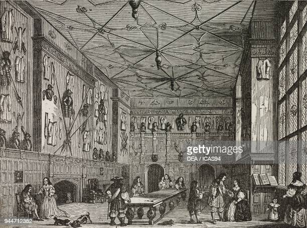 The hall of an English baronial castle early 17th century illustration from Teatro universale Raccolta enciclopedica e scenografica No 372 August 21...