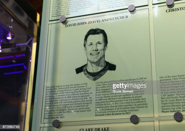 The Hall of Fame plaque for Dave Andreychuk is installed in the Great Hall at the Hockey Hall Of Fame and Museum prior to a press conference on...
