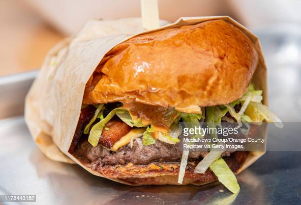 The Hall of Famer burger at Teemu Selanneu2019s restaurant The Penalty Box at the SteelCraft Garden Grove in Garden Grove on Thursday September 26...