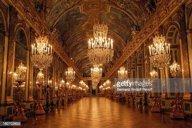 The Hall of Mirrors at Chateau de Versailles is seen within the gala dinner of professor David Khayat's Association 'AVEC' on February 4 2013 in...