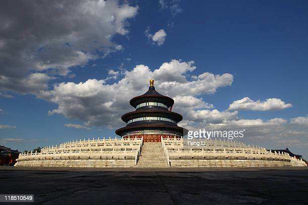 The Hall of Prayer for Good Harvests stands at the Temple of Heaven on July 8, 2011 in Beijing, China. According to records, over a period of some...
