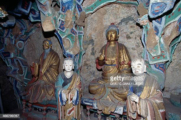 The Hall of Three Faiths where Confucian, Buddhist and Taoist statues are housed, Hanging Temple , are housed, Heng Shan mountain range, near...