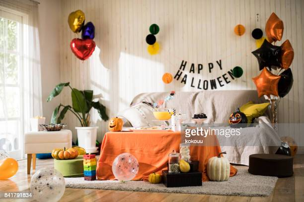 the halloween party is ready. - halloween party stock photos and pictures