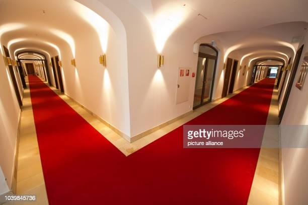 The hallway of luxury hotel Schloss Elmau near the village Kruen near Garmisch-Partenkirchen, Germany, 02 June 2014. Photo: Peter Kneffel/dpa | usage...
