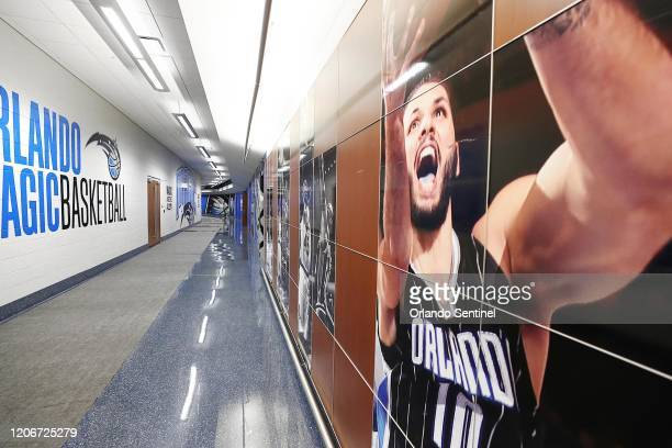 The hallway outside the locker room is empty at the Amway Center in Orlando home of the NBA's Orlando Magic on Thursday March 12 2020 The NBA has...