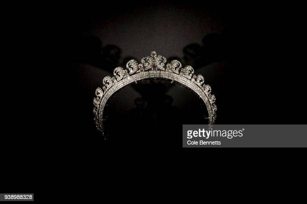 The Halo Tiara lent by Her Magesty Queen Elizabeth II on show at the Cartier The Exhibition Media Preview at the National Gallery of Australia on...