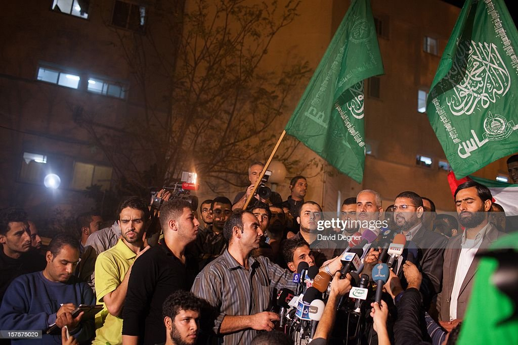 The Hamas spokesman in the Gaza Strip, Sami Abu Zahari, gives a press conference in front of the Shifa Hospital after the announcement of a cease fire in Gaza City, Gaza on November 21, 2012.