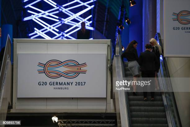 The Hamburg Messe und Congress center is seen on 6 July 2017 where the G20 will be held for two days bringing together the leaders of the world's top...