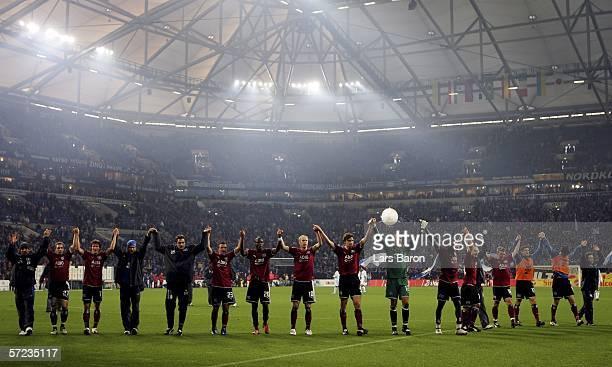The Hamburg players celebrate winning the Bundesliga match between FC Schalke 04 and Hamburger SV at the Veltins Arena on April 2 2006 in...
