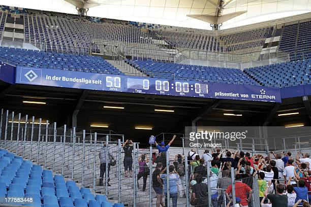 The Hamburger SV stadium clock shows the historic moment of 50 years continous Bundesliga participation at Imtech Arena on August 24 2013 in Hamburg...