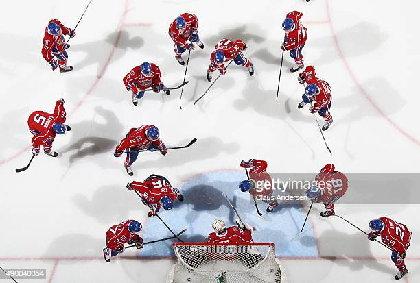 The Hamilton Bulldogs warm up prior to play against the London Knights in an OHL game at Budweiser Gardens on September 25 2015 in London Ontario...