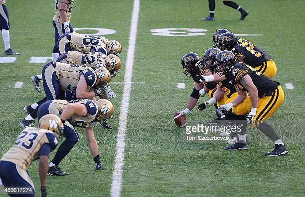 The Hamilton TigerCats line up against the Winnipeg Blue Bombers during CFL game action on July 31 2014 at Ron Joyce Stadium in Hamilton Ontario...