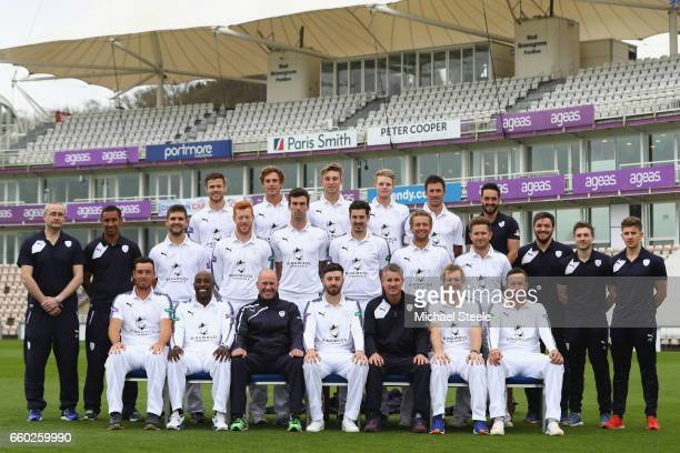 The Hampshire team and coaching staff pose in the Specsavers County Championship kit during the Hampshire County Cricket photocall at the Ageas Bowl...