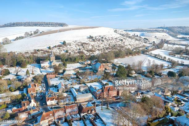 The Hampshire village of East Meon covered in snow on February 2, 2019 in East Meon, United Kingdom.