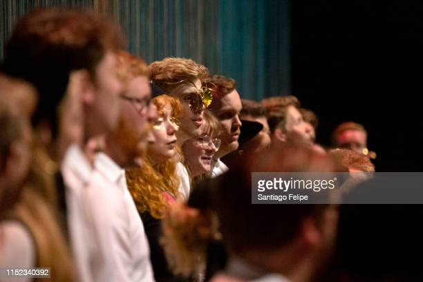 The Hamrahlid Choir perform onstage with Bjork during her Cornucopia concert series at at The Shed on May 28 2019 in New York City