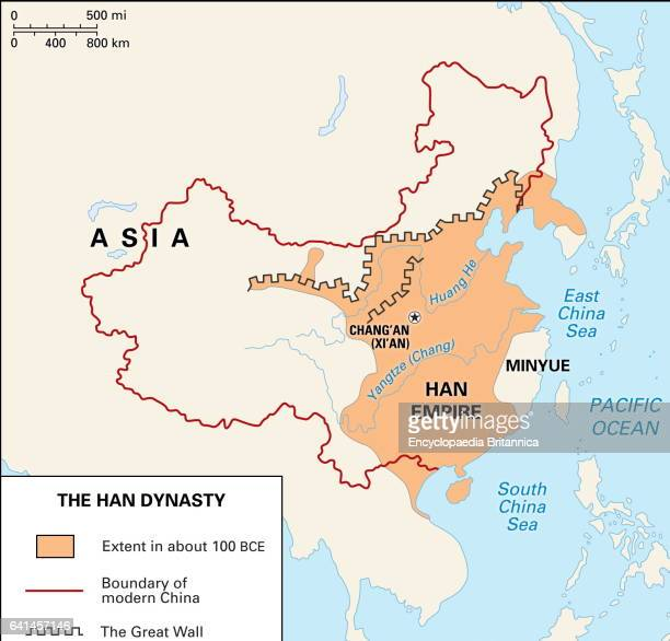 The Han Dynasty expanded the boundaries of China and further extended the Great Wall along its northern frontier for protection against the Huns