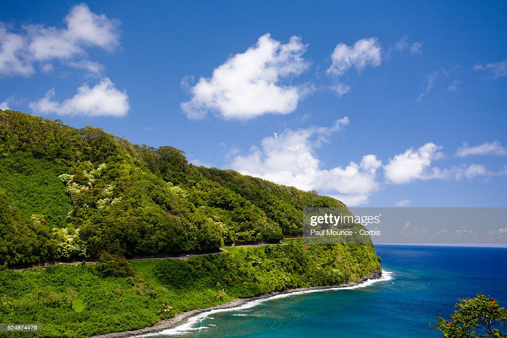 The Hana Highway runs along the outer coast of the island of