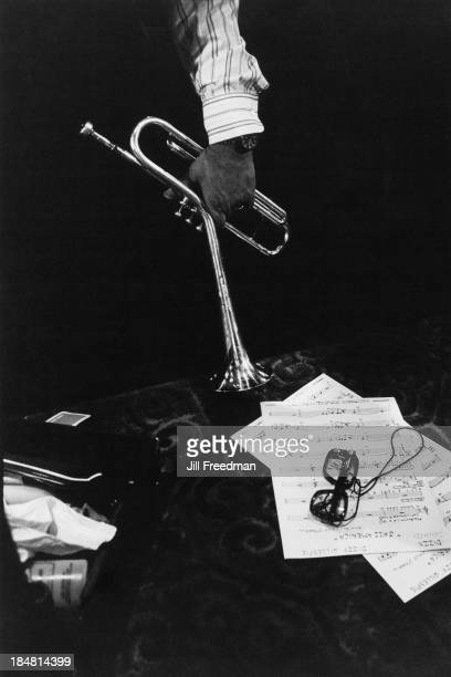 The hand and trumpet of American jazz trumpeter bandleader and composer Dizzy Gillespie during rehearsals for 'Dizzy Gillespie Dream Band Jazz...