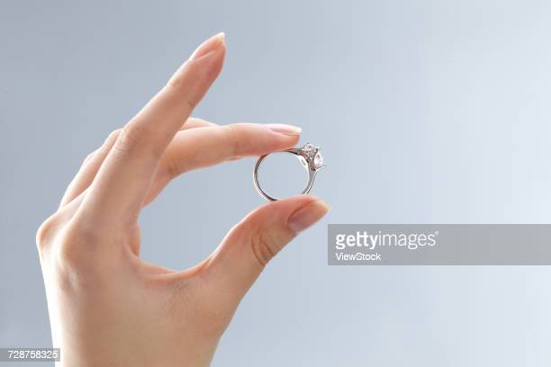 The hand holding the ring