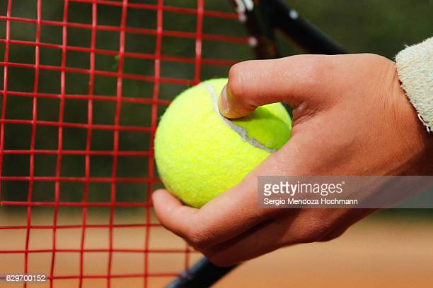 The hand of a young latin woman after playing tennis in Mexico City