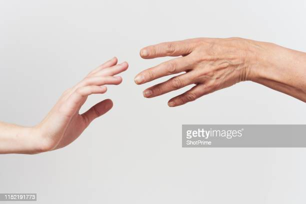 the hand of a young woman and an elderly woman, help the elderly - tocar - fotografias e filmes do acervo