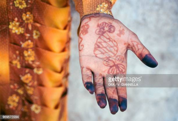 The Hand Of A Young Woman Decorated With Henna Socotra Island