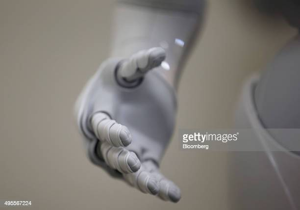The hand of Pepper the humanoid robot manufactured by SoftBank Group Corp is seen at the Orange Arch Inc offices in Tokyo Japan on Monday Oct 5 2015...