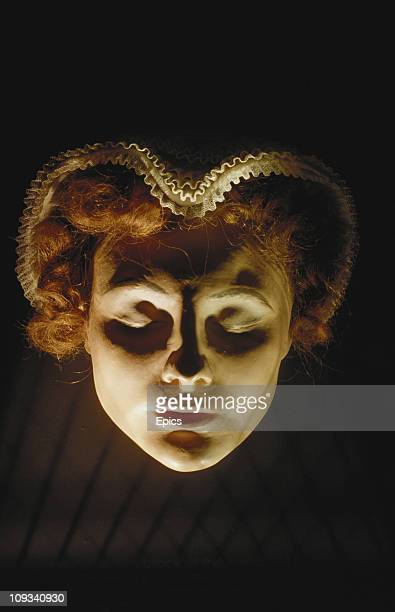 The hand painted death mask of Mary Queen Of Scots on display at the Mary Queen of Scots House Jedburgh Scottish Borders circa 1989 This example was...