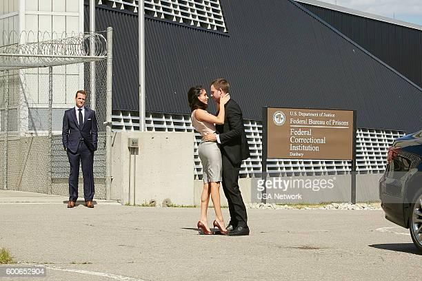 SUITS 'The Hand That Feeds You' Episode 609 Pictured Gabriel Macht as Harvey Specter Meghan Markle as Rachel Zane Patrick J Adams as Michael Ross
