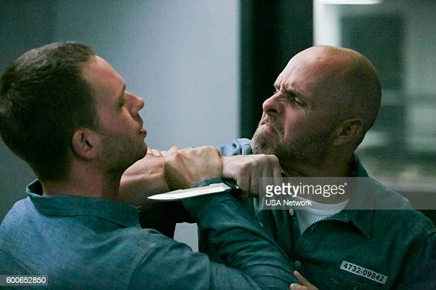 """The Hand That Feeds You"""" Episode 609 -- Pictured: Patrick J. Adams as Michael Ross, Paul Schulze as Frank Gallo --"""