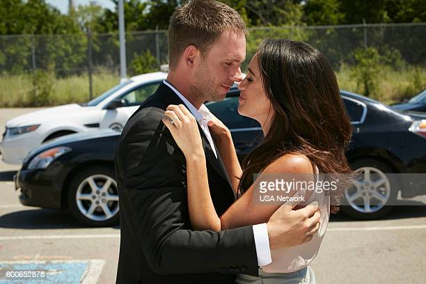 SUITS 'The Hand That Feeds You' Episode 609 Pictured Patrick J Adams as Michael Ross Meghan Markle as Rachel Zane