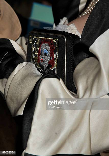 The handbag carried by actress Helena Bonham Carter as she attends the Royal World Premiere of Tim Burton's 'Alice In Wonderland' at the Odeon...