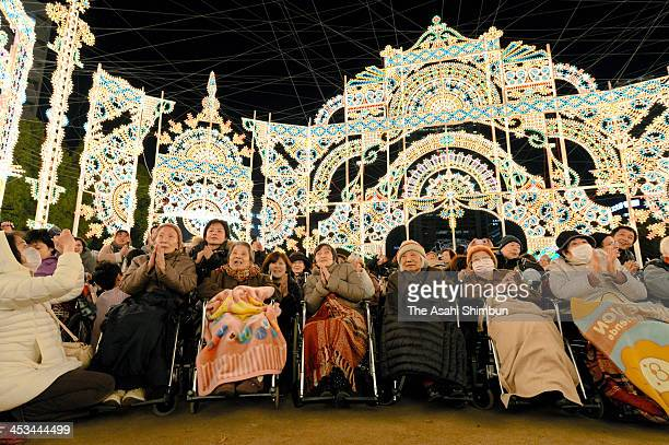 The handicapped and disabled enjoy the Kobe Luminarie illumination during the 'Heartful Day' on December 3 2013 in Kobe Hyogo Japan The event takes...