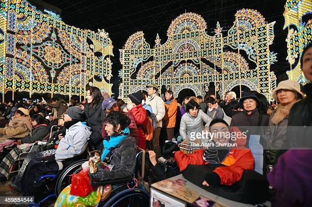 The handicapped and disabled people enjoy the Kobe Luminarie illumination during its 'Heartful Day' ahead of the official launch on December 2 2014...