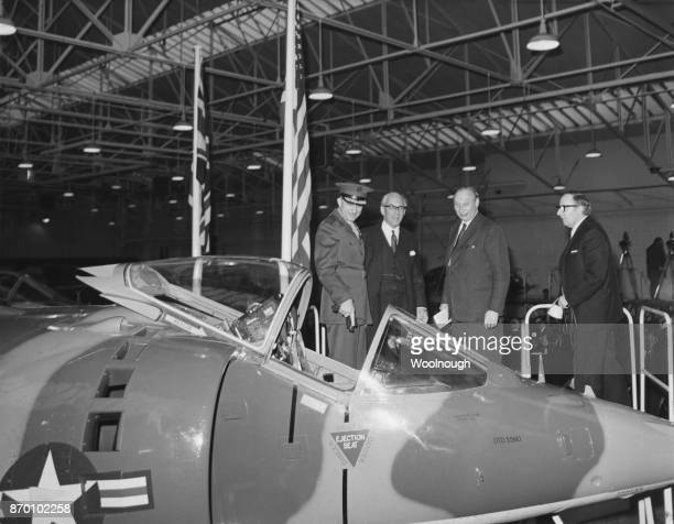 The handing over ceremony of the first of twelve Hawker Siddeley Harrier AV8A aircraft to the United States Marine Corps at Dunsfold in Surrey UK 6th...