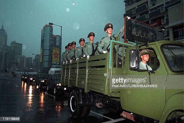 The Handover of HongKong to China in Hong Kong city Hong Kong on June 29 1997 Chinese troops arrive at the Prince Charles barracks in Hong Kong