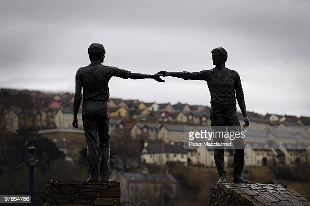 The Hands Across The Divide statue is silhouetted againts the sky on March 15 2010 in Derry Northern Ireland The Bloody Sunday Inquiry chaired by...
