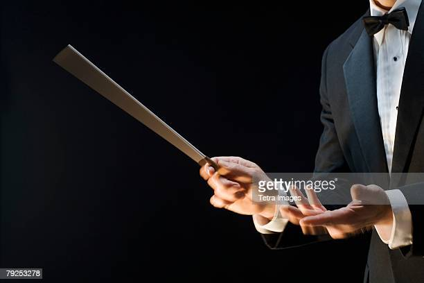 The hands of an orchestra conductor