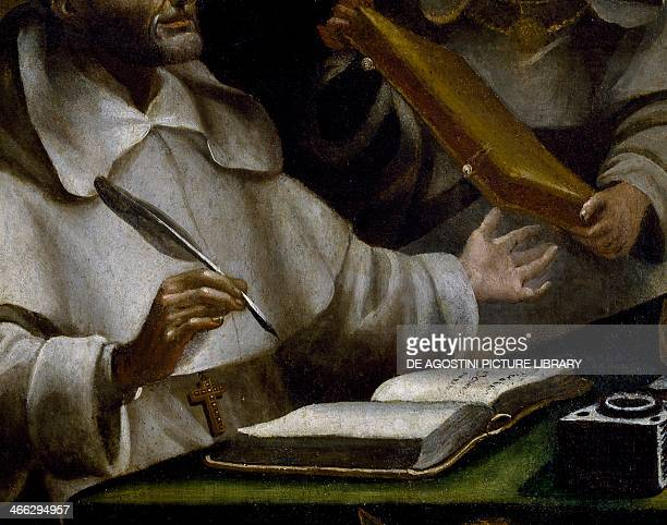 The hands of St Albert as he writes detail of St Paul appearing to Saint Albert the Great and St Thomas of Aquinas painting by Alonso Antonio...