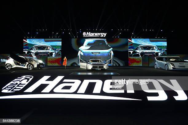 The Hanergy solar power vehicles are displayed at the launching ceremony on July 2 2016 in Beijing China Hanergy Holding Group launched 4 full solar...