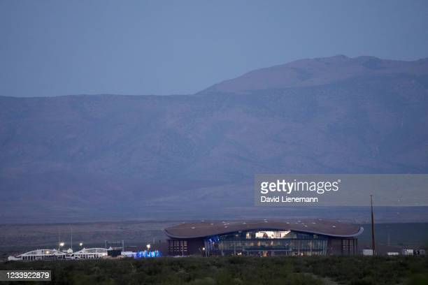 The hangar at Spaceport America, prior to the launch of Virgin Galactic's SpaceShipTwo Unity July 11, 2021 in Truth Or Consequences, New Mexico....