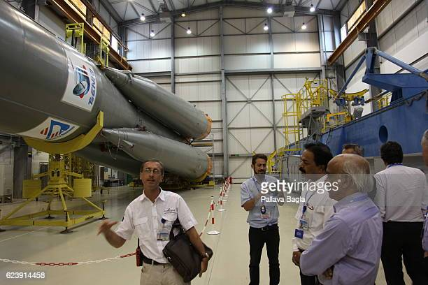 The hangar that holds the Soyuz rocket which is also launched from Kourou as part of a special arrangement between Russia and The Europeans on...